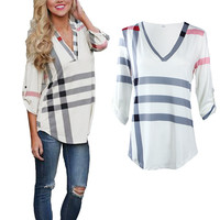 Autumn New Women's Casual Tee Shirt Office Hours Plaid Top Plunging Quarter Sleeves 598