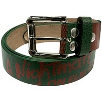 Nightmare On Elm St - Forest Green/Red Stripes Leather Belt
