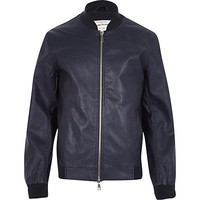 River Island MensBlue leather-look bomber jacket