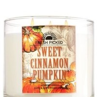 Bath and Body Works Scented Candle, 6 Oz or 3 Wick 14.5 Oz, Sweet Cinnamon Pumpkin (White, 14.5 oz 3 Wick)