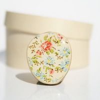 Cocktail Ring vintage floral wood ring floral jewelry delicate jewelry for her eco friendly nature gift