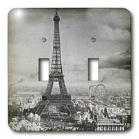 3dRose LLC lsp_6793_2 Eiffel Tower Paris France 1889 Black and White, Double Toggle Switch