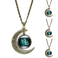 12 Constellation Glass Cabochon Pendant Necklace Vintage Bronze Crescent Moon Accessories Chain Necklace For Women Jewelry