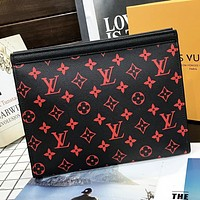LV New Fashion Monogram Print Leather File Package Cosmetic Bag Handbag Black&Red