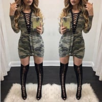 Fashion Machine Eyeband Long Sleeve Camouflage Dress