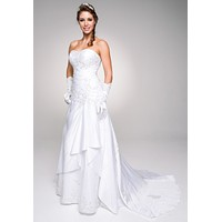 Sweetheart Neckline Embroidered Wedding Gown with Drapes White