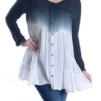 Babydoll Long Sleeve Ombre Top