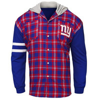 New York Giants Official NFL Mens Lightweight Flannel Hooded Jacket