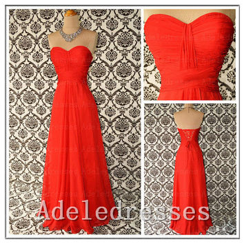 Custom Made Cheap Bridesmaid Dress,Sweetheart Orange Long Bridesmaid Dress,Bridesmaid Dresses,A Line Lace Back Up Prom Dress,Party Dress