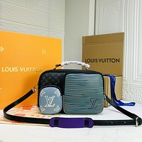 Louis Vuitton LV New Men Classic Leather Large Capacity Luggage Travel Bags Tote Handbag Crossbody Satchel 27*20*10CM