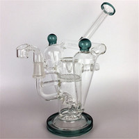 """Percolator Bongs Green Lip Wrapped Recycler Rig 9"""" Double Chamber glass Water Pipes Inline Gridded Perc Dab oil Rigs heady beaker burner"""
