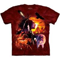 INDIAN COLLAGE T-Shirt The Mountain Native American Warrior Wolf Horse S-3XL NEW