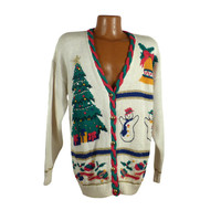 Ugly Christmas Sweater Vintage Tacky Holiday Party Multicolor Women's size M Cardigan