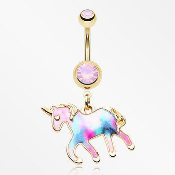Golden Magical Unicorn Sparkle Belly Button Ring