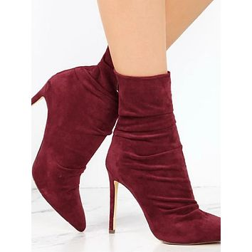 Women's Boots Stiletto Heel Pointed Toe Suede Booties / Ankle Boots Sweet / Minimalism Fall & Winter Red / Almond / Dusty Rose