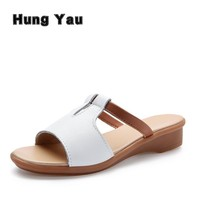 Women Sandals Genuine Leather Shoes Women Summer Style Flip Flops Wedges Fashion Plus Size 10 Platform Female Slides Lady Shoes