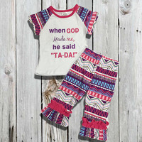 """Baby Girl Outfit, """"When God Made Me"""" Capri Pant, Girls Clothing, Toddler Girl Outfit, Kids Clothes, Children's Clothing, Spring, Summer"""