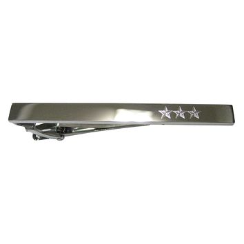 Silver Toned Etched Sleek 3 Stars Tie Clip