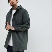 ASOS DESIGN hooded light weight parka in forest green at asos.com