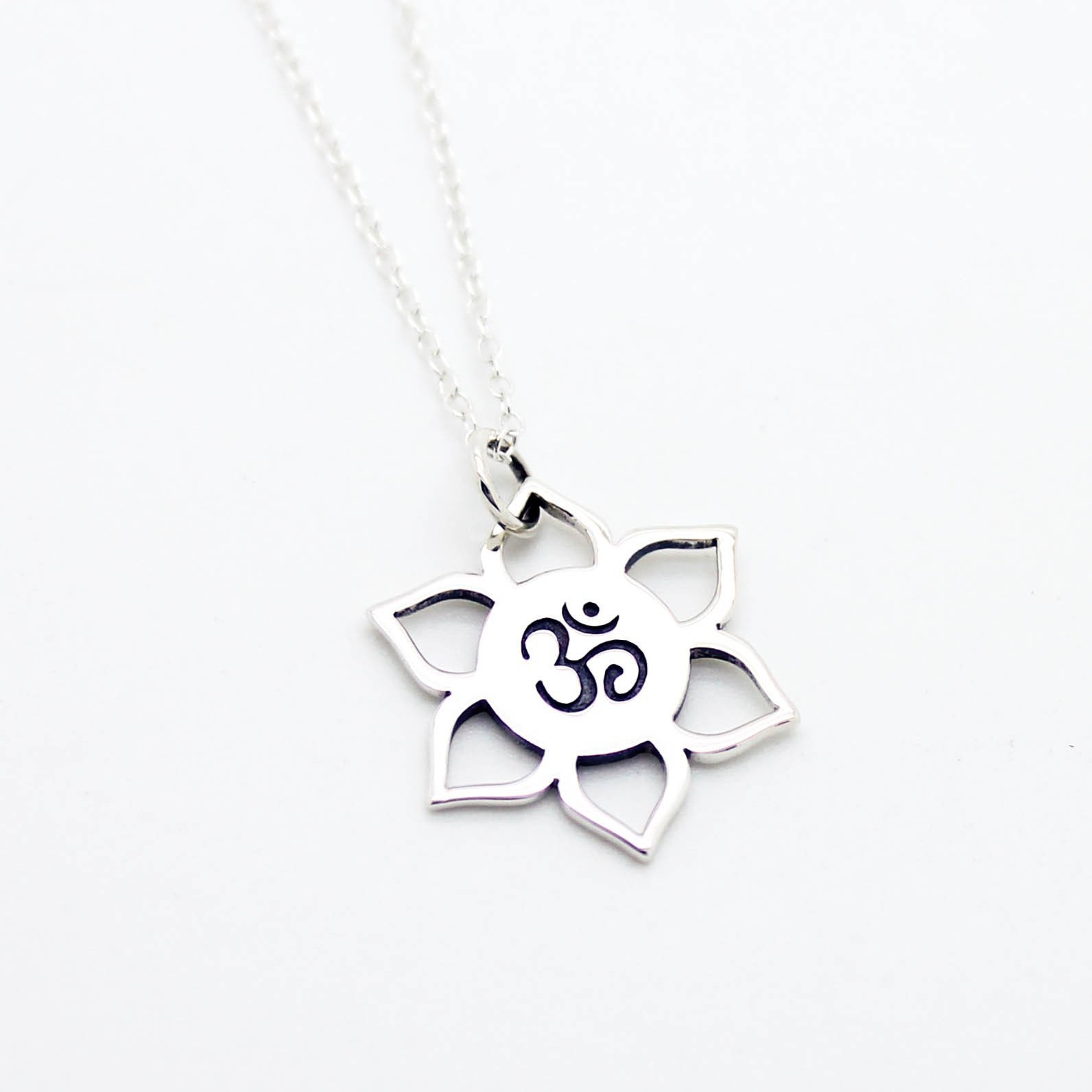 Image of Om Lotus sterling silver necklace