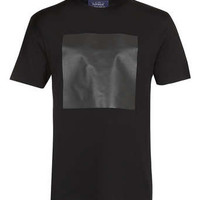 BLACK LEATHER LOOK SQUARE T-SHIRT - New In