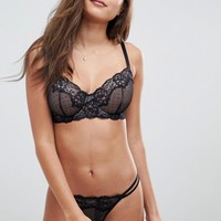 ASOS FULLER BUST Lizzie Dobby & Lace Underwire Bra at asos.com