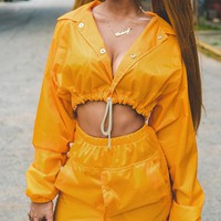 Yellow Drawstring Detail Button Front Long Sleeve Cropped Coat