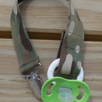 Military Pacifier Holder, US Military MultiCamo Fabric Pacifier Holder , MultiCamouflage Fabric Pacifier Clip, Binky Clip