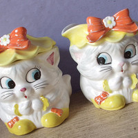 Vintage Lefton Cuddles white cat creamer and sugar bowl with lid set, collectible ceramic cat figurines, gift for cat lover,