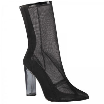 High Society Black Mesh Ankle Boot