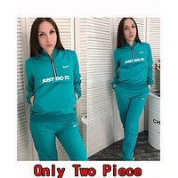 N Nike Popular Women Casual Hoodie Top Sweater Pants Trousers Set Two-Piece Sportswear Green