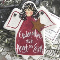 African American Personalized Salt Dough Angel Gift Ornament Mothers Day / Birthday / Christmas