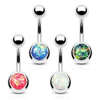 4 Pieces of Value Pack Opal Glitter Set 316L Surgical Steel WildKlass Belly Button Rings