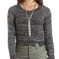 Marled Cropped Pullover Sweater by Charlotte Russe