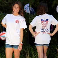 Monogrammed Put A Bow On It Short Sleeve T-Shirt | Patriotic Clothing | Marley Lilly