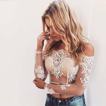 Violetta Lace Embroidered Crop Top