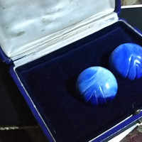 Dramatic Large Round Domed V Etched Vintage Blue Marble Bakelite Pierced Post Earrings.  Unique Retro-Modern Style Statement  Earrings