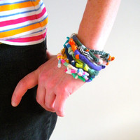Eco Friendly Multicolor Fiber Bracelet Stack Upcycled Hand Knotted Tribal Cuff Bracelet Bright Colors Knotty Bits Gifts Under 25