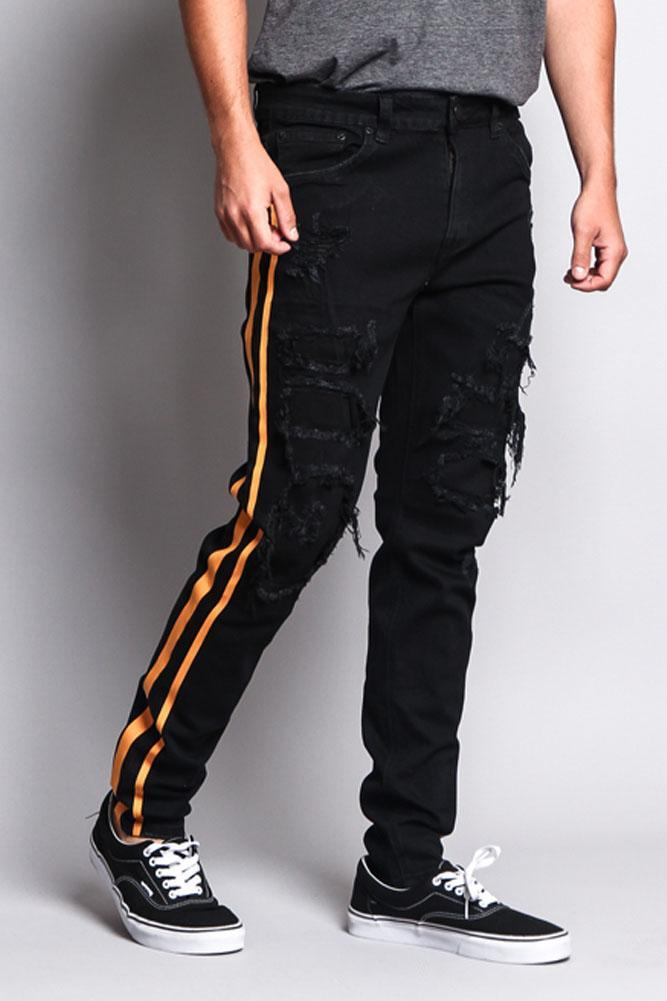 Image of Men's Distressed Double Striped Skinny Jeans