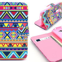 Magnetic Leather Flip Case w/ Card Slots & Stand Colorful Aztec Tribal Tribe Mobile Phone wallet bag Fits for LG Optimus G2