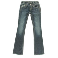 Miss Me Womens Sequined Whisker Wash Bootcut Jeans
