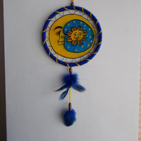 5'' Moon Suncatcher Mobile - Blue and Yellow Moon Dream Catcher Mandala - Wall Hanging Home Decoration - Stained Glass Style Window Decor