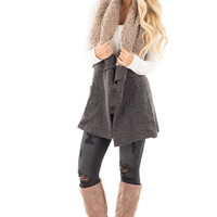 Charcoal Waterfall Drape Vest with Faux Fur Trim