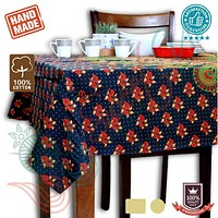 Cotton Peacock Floral Tablecloth Round, Rectangular Green Rust Gold Red Linen