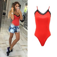 Echoine 2017 Sexy Women Bodysuits V Neck Strap Lace Up Solid Color Playsuits Casual Women Body Suit