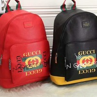 """""""Gucci"""" Unisex Casual Fashion Double G Embossed Backpack Large Capacity Multicolor Stripe Webbing Shoulders Bag"""