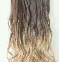 """20"""" 22"""" 3/4 Full Head Clip in Hair Extensions Ombre One Piece 2 Tones Wavy Curly Black Brown Blonde (Chocolate brown to sandy blonde)"""