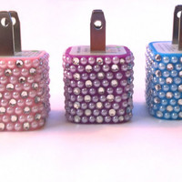 Swarovsky crystal rhinestone Bling 10 Color Cell Phone Adapter Wall Charger ONLY iPhone 3g 4 4s 5 iPad iPod Samsung