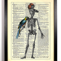 A Pirates Life For Me, Skeleton, Anatomy, Parrot Pet, Antique Book Art, Upcycled Vintage Dictionary Print, 8 x 10