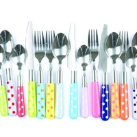 Present time Assorted Colors Polka Dots Cutlery Set, 16-Piece